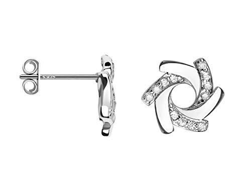 SOFIA MILANI - Pendientes para Mujeres en Plata de Ley 925 - con Circonitas - Pendientes de Espiral - 20562