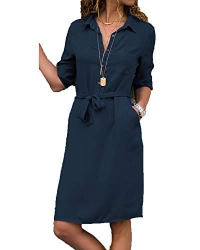 kenoce Bluse Damen Langarmshirt Longshirt V-Ausschnitt Dreiviertelarm Shirt Kleid mit Gürtel Elegant Blusenkleid Herbstkleid Tunika A-Dunkelblau M