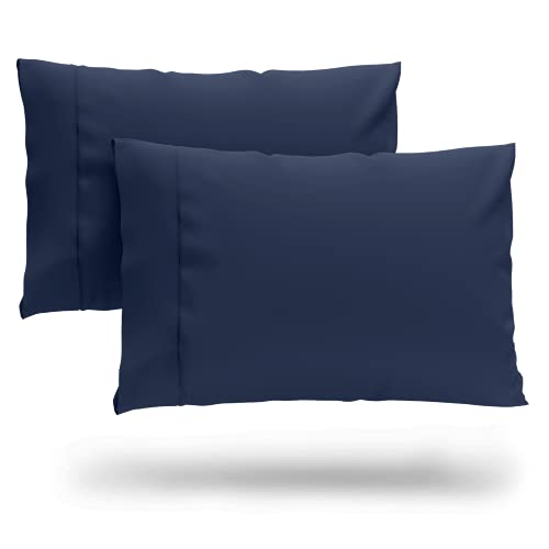 Cosy House Collection Premium Bamboo Pillowcases - King, Navy Blue Pillow Case Set of 2 - Ultra Soft & Cool Hypoallergenic Blend from Natural Bamboo Fiber