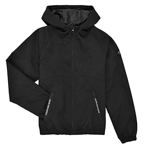 Calvin Klein Blouson coupe-vent à capuche pour enfant et garçon Black IB00856 - Noir - 12 ans