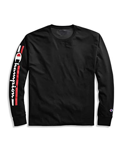 Champion Men's Classic Jersey Long Sleeve Tee - Script On Arm, Black, Large