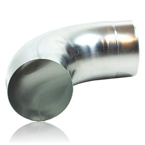 Zink Regenrohrbogen 80 mm mit 85 Grad, konischer Titanzink Ablaufbogen mit Einsteckfase, Fallrohrbogen stumpfgeschweißt DN 80