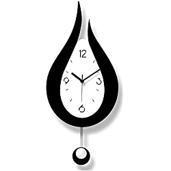 N/W Decorative Wall Cloc Modern Black and White 2 Color Mixed Silent Quartz Clock with Swing Hammer Suitable for Living Room and Bedroom and Office