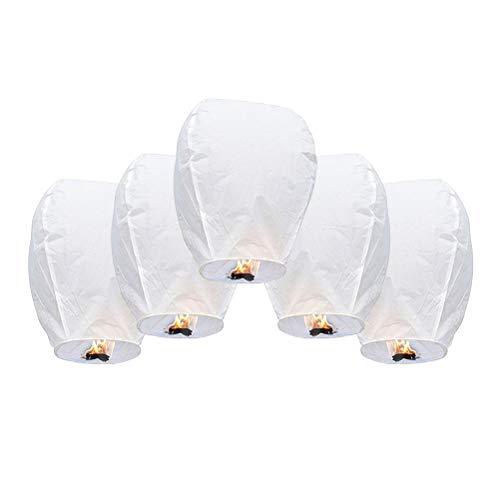 Stecto 5Pcs Farolillos voladores, Linterna de cielo biodegradable ecológica que desea linternas, linternas de papel voladoras ignífugas, para Navidad, bodas, fiestas