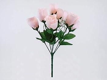 Phoenix Silk 3 Bushes Blush Pink Rose Buds Artificial Silk Flowers 12  Bouquet 7-898 BPK