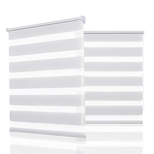 HOMEDEMO Store Enrouleur Jour Nuit avec ou sans Perçage, Rideau Blanc 50x200cm, Double Tissu, Translucide, Facile à Montage