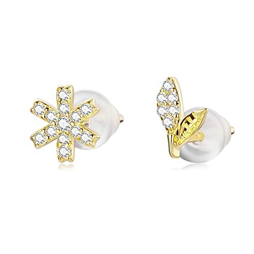 HMMJ Pendientes de botón para Mujer, hipoalergénicos S925 Plata Tapones para los oídos de Silicona chapados en Oro Real Joyería para Piercings de Insectos (Color : Dielian Flowers)