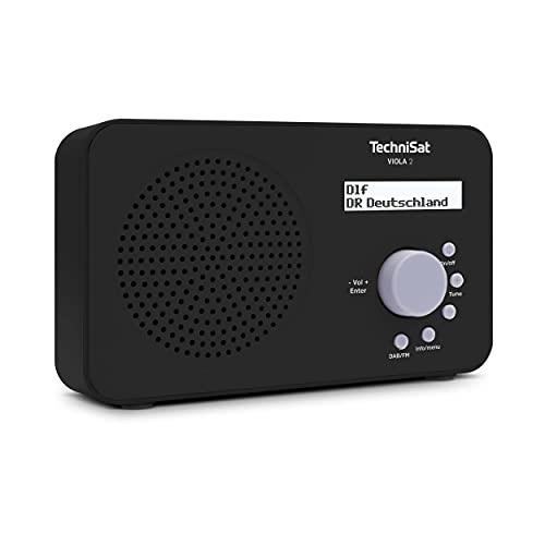 TechniSat VIOLA 2 - Radio DAB portatile (DAB+, FM, altoparlante, presa per cuffie, display a due righe, controllo dei tasti, piccola, 1 Watt RMS), nero