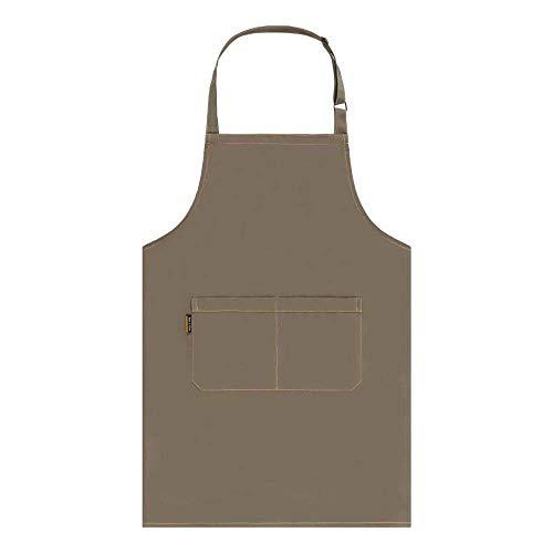 GLGSHOULIAN Tablier Femme,Ladies Mode Tout-Match Kaki Tablier Logo Gratuit Imprimé Work Tablier for Men Ajustable Cuisine Cuisine Tabliers pour Les Femmes Chef Waiter Cafe Shop BBQ Coiffeur Tabliers