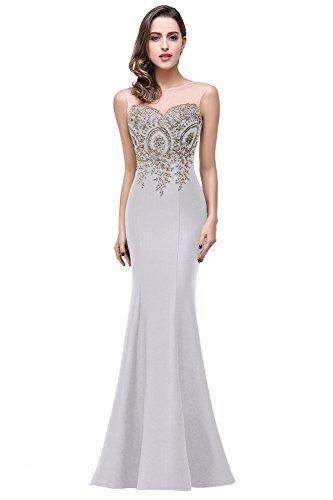 여자를위한 BARYONLINE 머메이드 이브닝 드레스 긴 공식 레이스 아플리케 댄스 파티 드레스