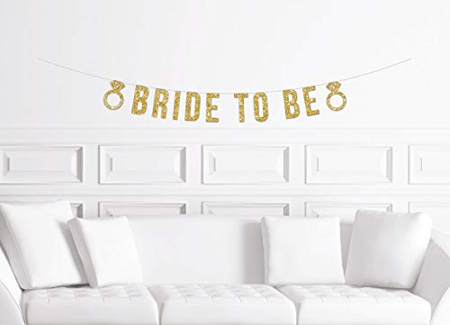 Banner de novia para ser con anillos de diamante dorado Miss To Mrs Bridal Shower Banner Bachelorette Party Banner Glitter Decoraciones nupciales