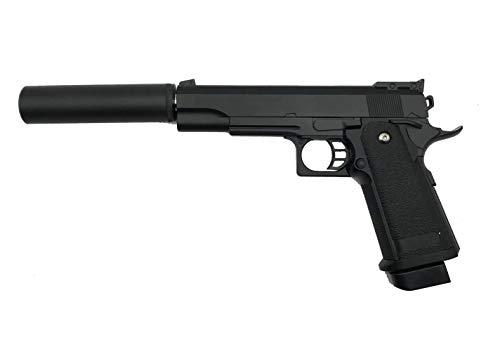 Rayline G6A Voll Metall Softair (Manuell Federdruck) + Schalldämpfer (An-/Abschraubbar), Maßstab 1:1, Gewicht 528g, 6mm Kaliber, Farbe: Schwarz