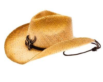 Strained Raffia Straw Longhorn Skull Cowboy Hat, Tea Stained Drawstring Western Bull Cowgirl Hat