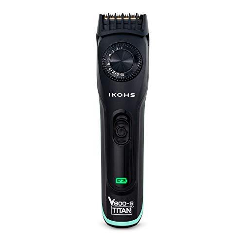 IKOHS V800-S TITAN PRO Rasierer, kabellos, leicht, Akkulaufzeit 90 Minuten, 19 Schnittstufen, aus Stahl und Titan, inkl. Reinigungsbürste und Aufziehkopf