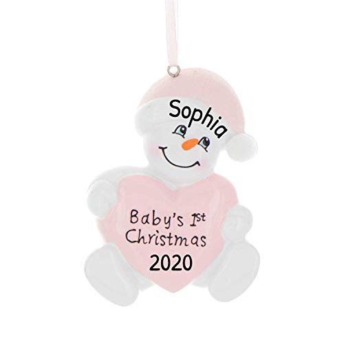 Personalized Baby's 1st Christmas Snowbaby Ornament for Tree 2018 - Snowman holds Pink Heart Glitter Hat - Girl First New Mom Shower Grand-daughter Kid Child Carrot Nose - Free Customization by Elves