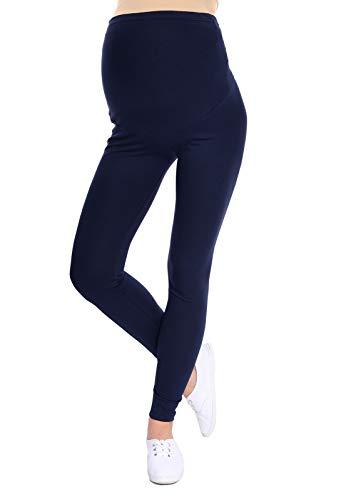 Oasi - leggings toute longueur de maternité de bonne qualité 95% Coton 3085 (EU 42, Bleu marin)