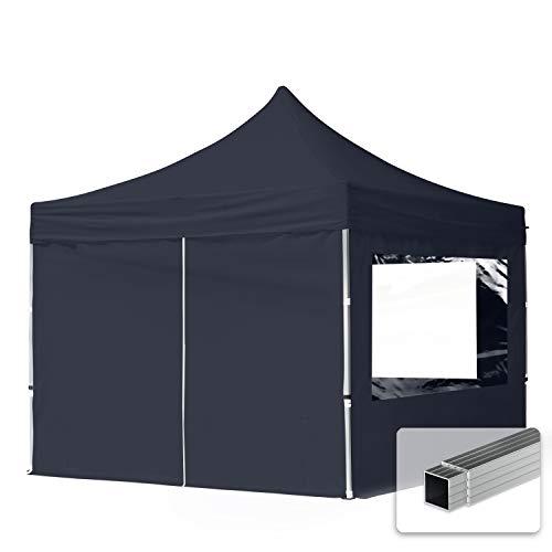 TOOLPORT Tente Pliante 3x3 m - 4 côtés Aluminium Barnum Chapiteau Pliant Tonnelle Stand Paddock Réception Abri PES300 Gris