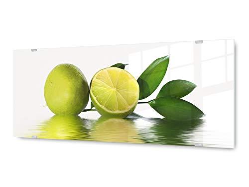 KD Dsign+ glasschilderij wandschilderij GLX1259083663 limoen spiegeling 125 x 50 cm/incl. nieuw ophangsysteem