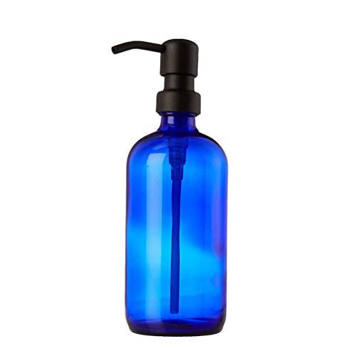 kaiking 16 Bleu Cobalt Boston en Ounce-Bouteille Verre Bouteille de Savon Liquide Distributeur Rond avec/Acier Inoxydable Pompe (Black)
