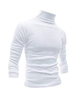 Men Slim Fit Lightweight Long Sleeve Pullover Top Turtleneck T-Shirt White,M