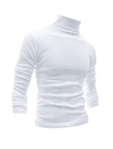 Men Slim Fit Lightweight Long Sleeve Pullover Top Turtleneck T-Shirt(White,S)