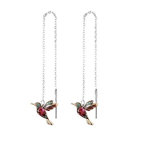 Janly Clearance Sale Pendientes para mujer, diseño de colibrí de circón, colgante largo con cadena para mujer, regalo de cumpleaños para damas y niñas (rojo)