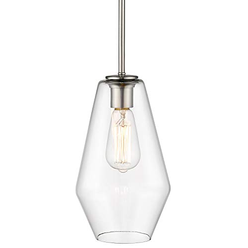 Osimir Single Bell Pendant Light, Modern Glass Metal Hanging Ceiling Lights Fixture, 18 inch Pendant Lighting in Satin Nickel Finish, CH9177-1A
