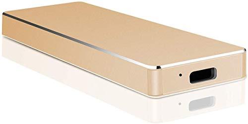 Disco duro externo portátil ultrafino de 2 TB – Disco duro externo USB 3.1 para PC, Mac, ordenador de sobremesa, ordenador portátil (2 TB, Gold)