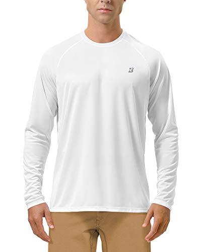 Roadbox Men's Sun Protection UPF 50+ UV Outdoor Long Sleeve Dri-fit T-Shirt Rashguard for Running, Fishing, Hiking(2XL, White)