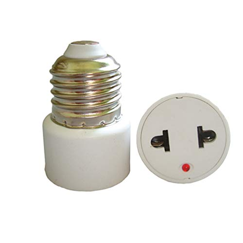 Uonlytech 2 bombillas E27 de 220 V E27, convertidor del adaptador de enchufe de los Estados Unidos, 2 orificios de toma plana LED lámparas de conversión para oficina
