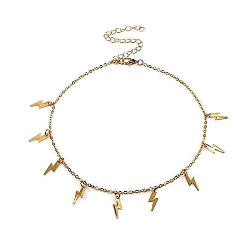 Collar de moda con relámpagos para mujer, collar de gargantilla de cadena de clavícula de Color dorado, joyería de regalo de fiesta de verano