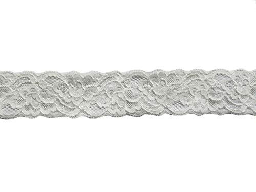 YYCRAFT 10 Yards Stretch Lace Trim, 1.5' Wide Soft Elastic Lace Trim for Clothes Dress Sewing,Wedding Bride Appliques,DIY Headband Craft(White)