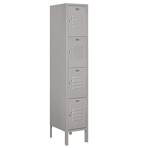 Salsbury Industries 64155GY-U 12' Four Tier Standard, 1 Wide x 5 Feet High x 15 Inches Deep, Unassembled Metal Locker, Gray