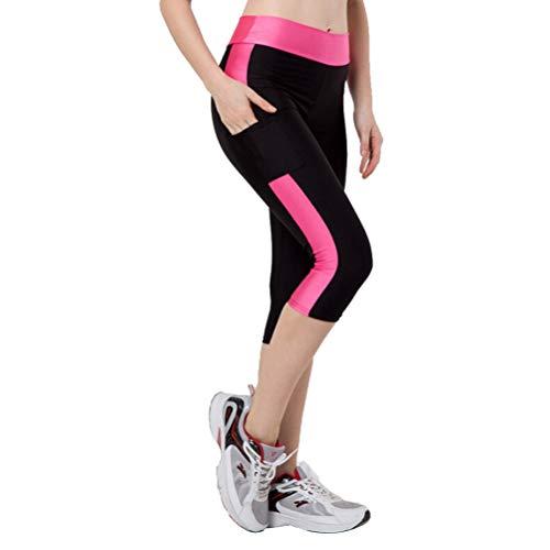 Élastique Slim épissage Yoga pantalons Leggings d'entraînement extensible avec des poches pour les femmes Lady - taille M (noir et rose)