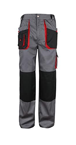 Stenso Torin - Pantaloni da Lavoro con molteplici Tasche - Grigio/Rosso/Nero - Uomo - 3XL