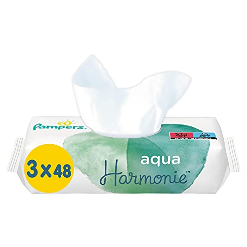 Pampers Lingettes Aqua Harmonie, Composée à 99% d'Eau Pure et Sans Parfum ni Alcool, Lot de 6X144 Lingettes (Total 864 Lingettes)