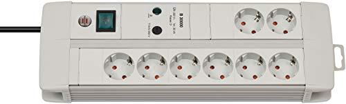 Brennenstuhl Premium-Line, Steckdosenleiste 8-fach mit Überspannungsschutz (3m Kabel, mit Schalter, inkl. auswechselbarer Sicherung, Made in Germany) grau