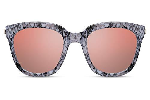 Cheapass Gafas de Sol Mujeres Oversize Gafas de Sol Gris Serpiente Montura con Rosa Flash Lentes Espejadas UV400 protegidas