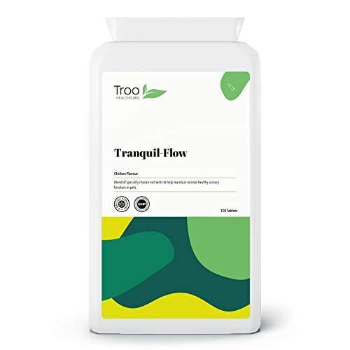 Tranquil-Flow 120 comprimidos - urinario con sabor a pollo y soporte renal para mascotas | D-Mannose | arándano | fabricado en Reino Unido