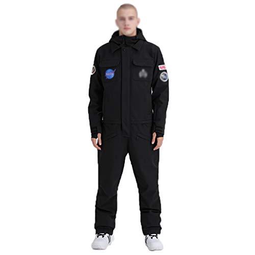 Zunruishop Herren EIN Stück Ski Anzüge Jumpsuits Coveralls Winter Outdoor wasserdichte Schneeanzüge for den Schneesport (Color : Black, Größe : L)