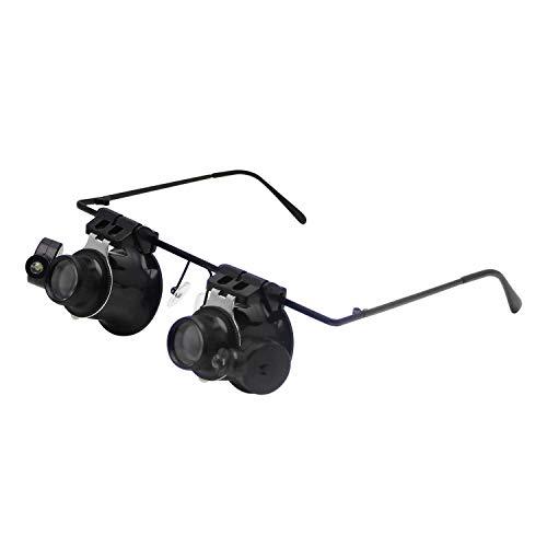 WFAANW Gläser Lupe 20X mit 2 LED-Leuchten for Juwelier Uhrmacher Juwelier-Uhr-Reparatur