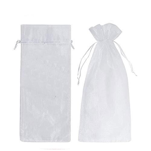 30 bolsas de lana de gasa para botellas de vino, bolsas de regalo transparentes con cordón para fiestas