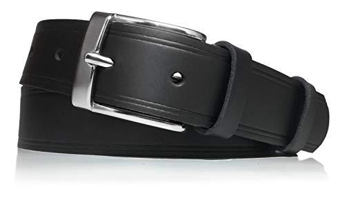 almela - Cinturón de hombre - Piel legitima - 3 cm de ancho - Cuero - Económico - 30mm - Hebilla níquel brillo (Negro, 110)