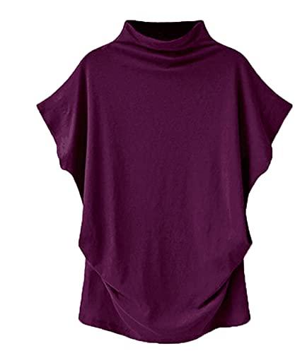 Camiseta De Mujer Camiseta Holgada De Verano Tops Cuello Alto Manga Corta Casual