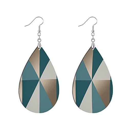 Pendientes de madera de moda gota colgantes ligeros lágrima pendientes forma gota pendiente para las mujeres joyería triángulo geométrico verde azulado esmeralda oro