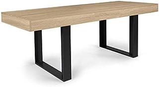 IDMarket - Table à Manger Extensible Phoenix 6-10 Personnes Bois et Noir 160-200 cm