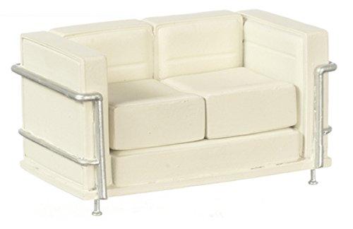 Dollhouse Miniature 1:12 Scale White Lc2 Le Corbusier Sofa #S8004