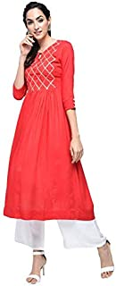 Stylum Women's Festive & Party Wear Gota Lace Work Flared Rayon Red Kurta Palazzo Set