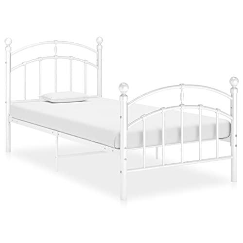 Blanco Metal con Revestimiento en Polvo Estructura de Cama de Metal Blanco 90x200 cmMobiliario Camas y Accesorios Camas y somieres