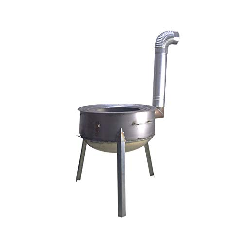 Z6 Brennholzofen Haushalt Kochen/Heizen im Freien tragbaren Klappofen Stahlplatte dicken winddichten Brennholzofen + Schornstein (Diameter 43cm)